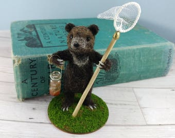 Bear Needle Felted Model Woodland Animals Ornament Baby Bear Fishing Brown Cub Art Doll Fibre Soft Sculpture Fiber
