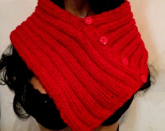Red snood hand-knitted