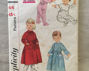 Simplicity 2290 sewing pattern, toddlers two-piece pajamas and robe, pants with feet, vintage sewing pattern, size 1