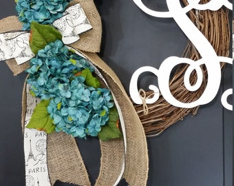 Wresth - spring wreath - hydrangea wreath - grapevine wreath - housewarming gift - mothers day - summer wreath