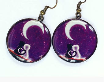 Purple earrings Dangle earrings Cat earrings Cat jewelry Cat lover gift for her Mother day gift for sister gift for girlfriend gift for wife