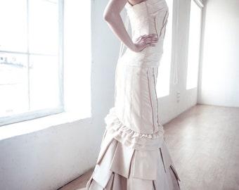 Satin Body Skimming Silhouette Long Wedding Dress long with Puddle train, Romantic wedding gown, Classic bridal dress, Custom dress, Rustic