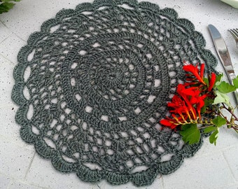 Free standart shipping/Crochet jute placemat set-pale petrol green color round crochet table set-2 items-1 set