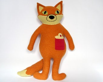 Lambswool fox stuffed toy, Foxy critter, Wooly animal totem, Soft plushie, Recycled clothing, Upcycled felted sweater, Gift idea, Repurposed