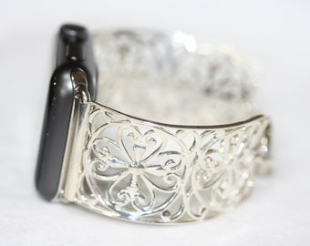 Apple Watch Compatible Sterling Silver Filigree Scroll Cuff Band