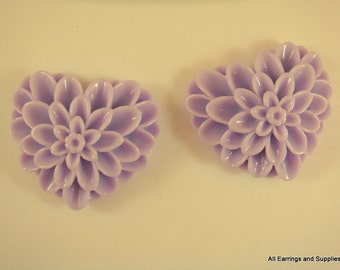 BOGO - 2 Lavender Heart Flower Cabochon Purple Dahlia Resin 38x34mm - No Holes - 2 pc - CA2017-PP2 - Buy 1, Get 1 Free - No coupon required