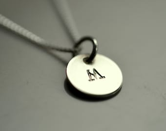 Initial Necklace Stamped letter M silver disc necklace Sunshine On Water jewelry