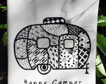 Kitchen Towel - Happy Camper Crazy Quilt