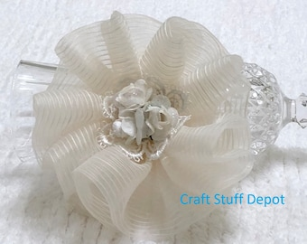Handmade Flower, Off White, Rosette Embellishment, Package Topper, Hair Ornament, Brooch, Trim, Book Cover, Headband, Home Decor, Bag Flower