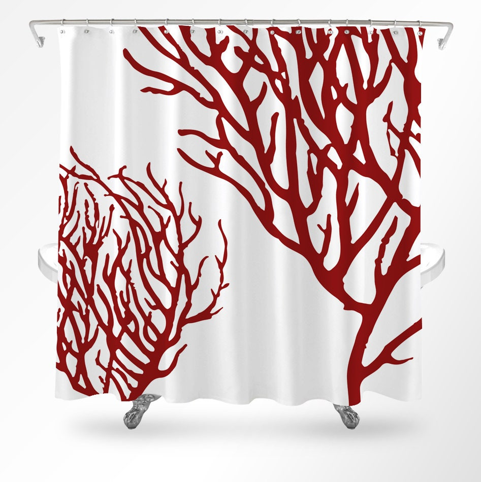 Coral Shower Curtain Coastal Shower Curtain Ocean Shower