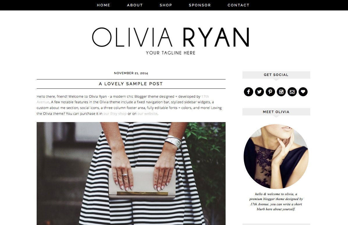 Blogger Template Premade Blog Design Olivia Ryan