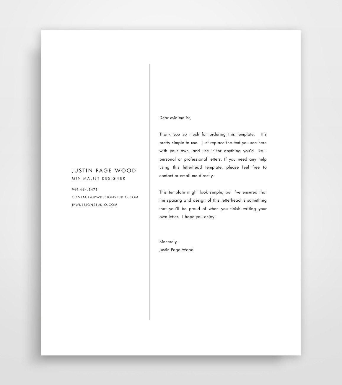 Custom Letterhead Design: Business Letterhead Letterhead Template Custom Letterhead
