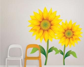 Charming Sunflower Wall Mural Decal Sunflower Wallpaper Art Sticker Sunflower Wall  Art Design Sunflower Bedroom Decor Sunflower