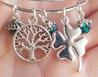 Stacking bracelet. Tree of life bangle. Shamrock charm bracelet. Tree of life charm bracelet. St. Patrick's Day bracelet. Expandable bangle