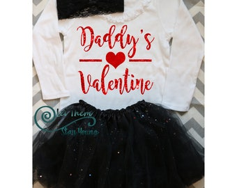 Daddys Valentine shirt First Valentines day Daddys little princess Daddys little girl Valentines day shirt girls