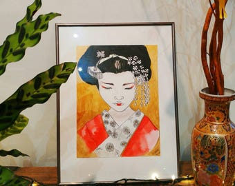 Original painting / Geisha  / Asian art girl / delicate japan art / beautiful Geisha in gold and red