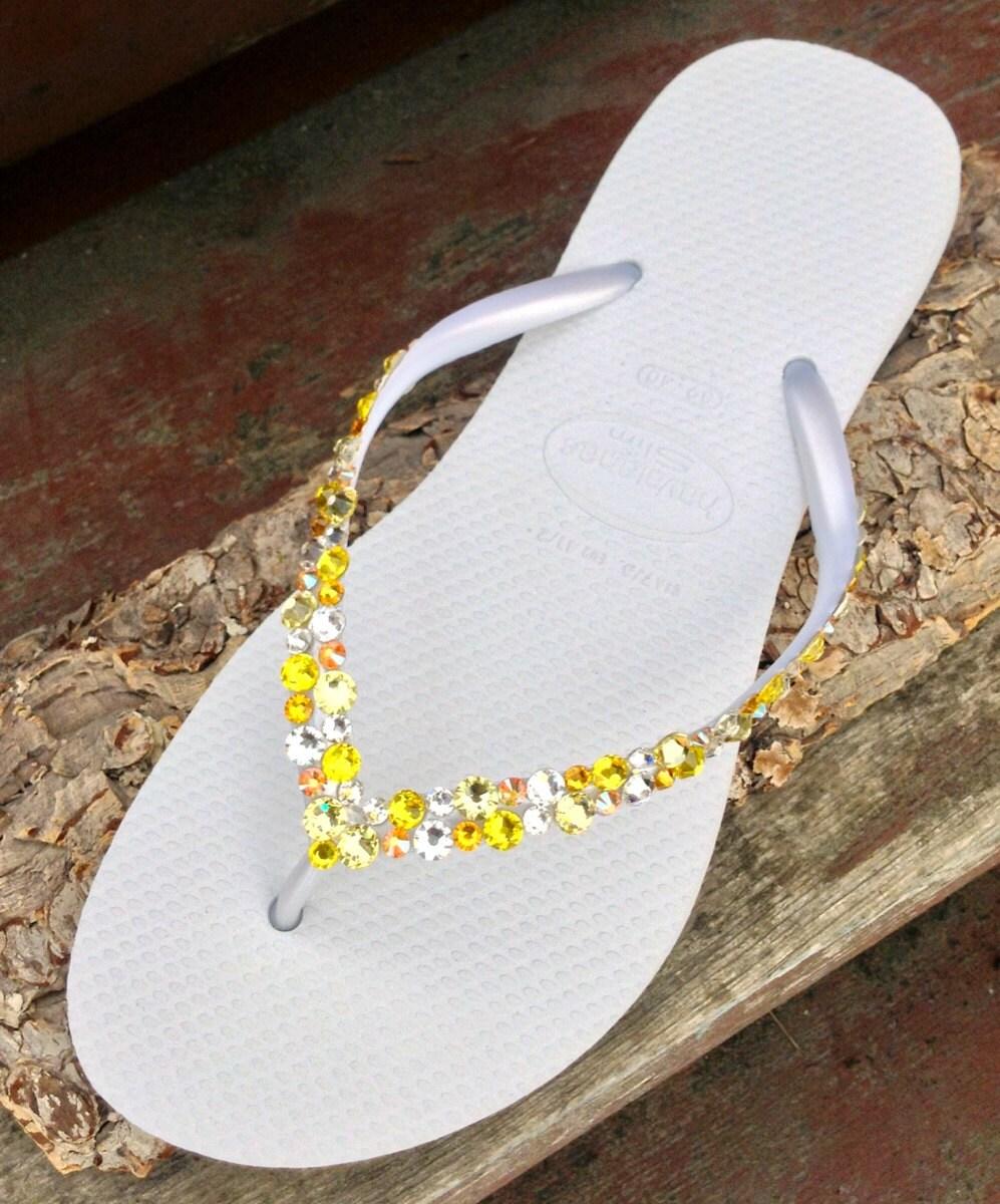 bfc205909 White Yellow Havaianas Slim Flip Flops Custom w  Swarovski Crystal  Rhinestone Beach Sea Glass Slipper Wedding sandal Bling Jewel Bridal shoe