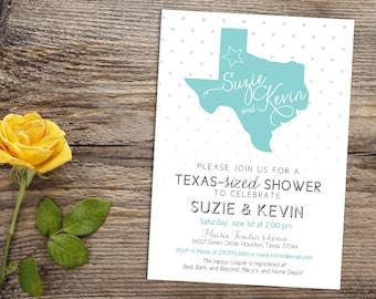 Texas State Lone Star Western Country Wedding Printable Couples Bridal Shower Invitation, Custom Rustic Dallas Houston Texas-Sized Invite
