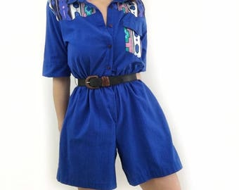 Vintage Blue Aztec Print Romper Size Small / Medium