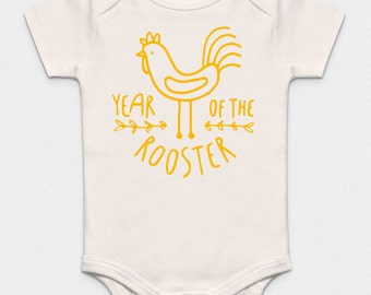 Premium Organic Year of the Rooster Offwhite Bodysuit - Yellow, Pink or Blue