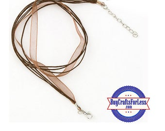 Ribbon CORD necklace, BROWN +FREE SHiPPiNG & Discounts