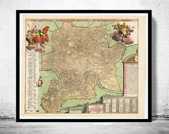 Vintage Map of Rome Roma, Italia 1715 Antique map of Rome