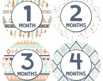 Baby Month Stickers Monthly Baby Sticker Monthly Baby Stickers Baby Month Stickers Milestone Stickers Photo Stickers Tribal Aztec 1205