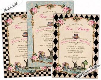 alice in wonderland birthday invitation printable, mad hatter tea party invitations, elegant shabby chic alice in wonderland baby shower
