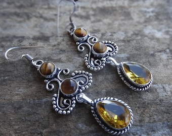 Natural Sterling Silver CITRINE & Tigers eye Earrings - Natural Citrine earrings - Handmade Tiger's Eye Earrings  Natural Citrine earrings