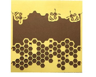 Hive Card , Blank inside , Bee's , Honey , Insects , Workers , Yellow , Brown , Papercut , Friends , Family