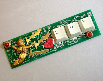 Recycled CIRCUIT BOARD Magnet I Love You Geekery