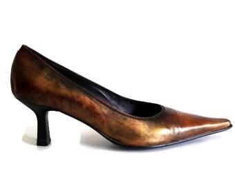 Vintage PIERRE CARDIN Paris Heels Eu 39 Us 8,5 Colorful genuine leather womens shoes 80s Designer shoes Kitten heels shoes Pointed toe shoes
