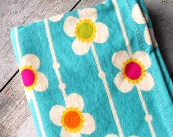 Turquoise Flowers Receiving Blanket
