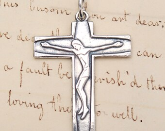 Crucifix - Modern Style - Sterling Silver Antique Replica