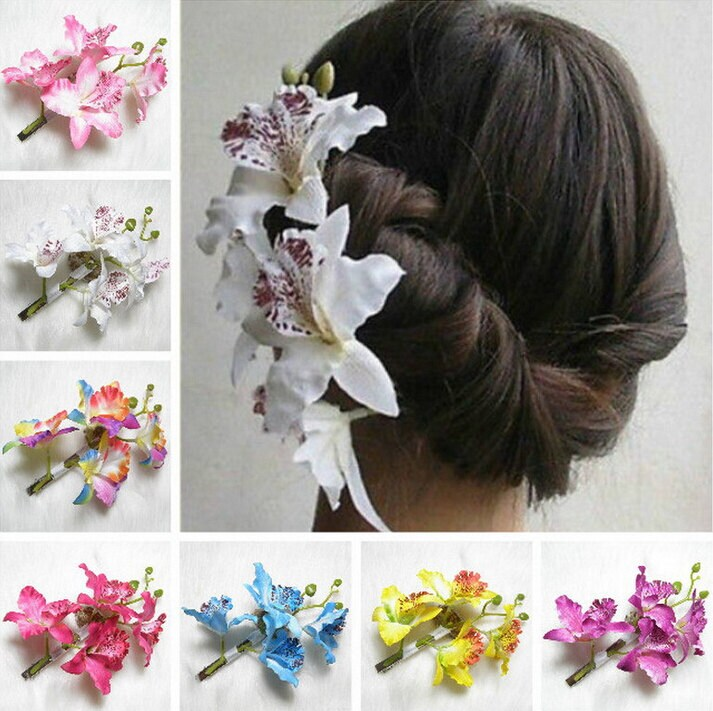 Bridal hair clips pins artificial flower hair accessories zoom mightylinksfo