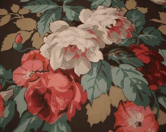 Imperial Wallpaper Sample Brown Pink White Flowers