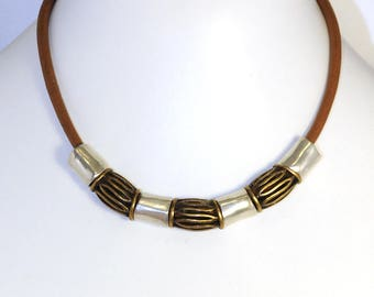 ethnic necklace, leather, copper and nickel free metal