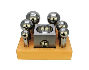 Proops Extra Large Doming Dapping 32 - 63mm, 6 Dome Punches & Jumbo Steel Dap Block Set. (J1328) Free UK Postage