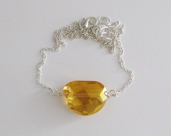 Golden Yellow Sparkling Faceted Crystal Nugget Necklace