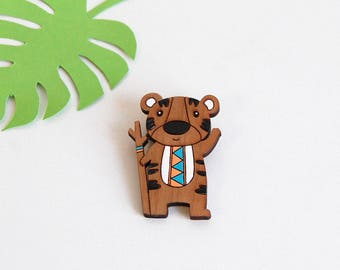 "Wooden brooch ""Indian Tiger"" - simple and sleek jewelry."
