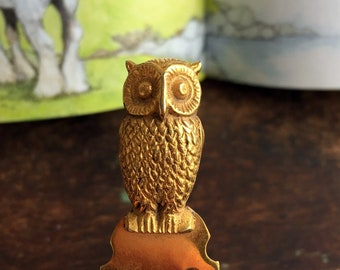 Vintage Gold Tone Metal Book Mark With and Owl Bird Made in Italy