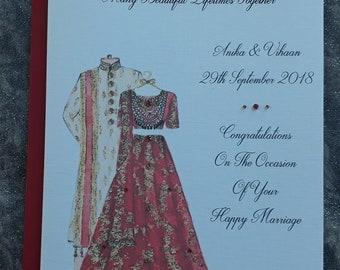 Handmade Personalised A5 Indian Wedding Card Hand Drawn Design