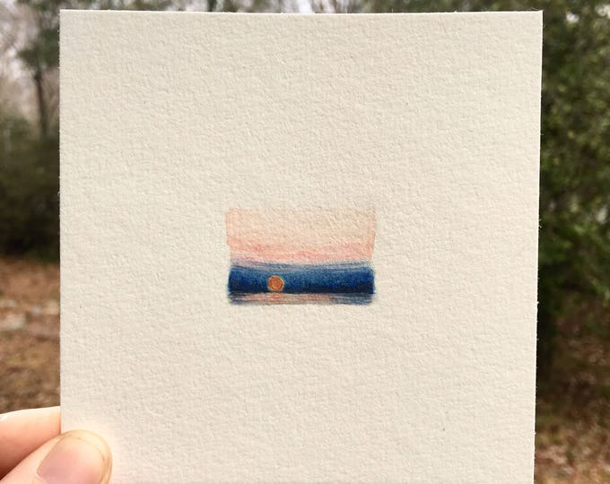 Vibrance / original tiny landscape art on paper / unframed artwork / romantic scenic view of sunrise