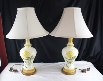 Vintage 70's Pair of Table Lamps Ceramic Yellow Rose Stiffle Shades-Lighting-Home Decor