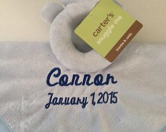 Baby Boy Carter's Blue Bear Security Blanket Blanky lovey - Personalized