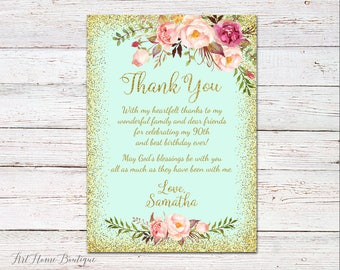 Thank You Cards, Floral Birthday Thanks Card, Thank You Notes, Thank You Card, #BW01