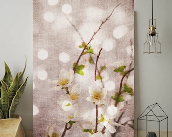 Spring Cherry Blossoms, Flowers, Wall Art Print, Tree Blossoms Floral Photography White Pink Romantic Wabi Sabi, Digital Download Print
