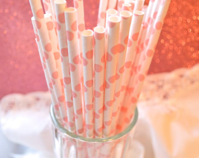 Vintage Paper Straws, Pink Polka Dot Paper Straws, Princess Party, Little Girl, Baby Shower, Cake Pop Sticks 25 straws