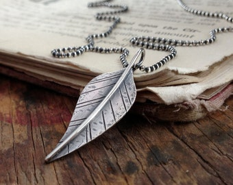 rustic sterling silver distressed leaf pendant layering necklace ~ message stamped DARE, your choice of chain length