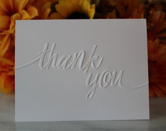 Thank You Cards Embossed Note Cards & Envelopes - Ideal Thank You Notes For Wedding, Birthday, Baby Shower or Bridal Shower. FREE SHIPPING